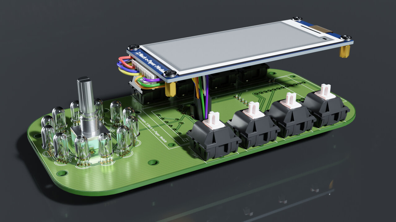 Rendered view of the top with the display hovering above the PCB to indicate how the cables should be placed.