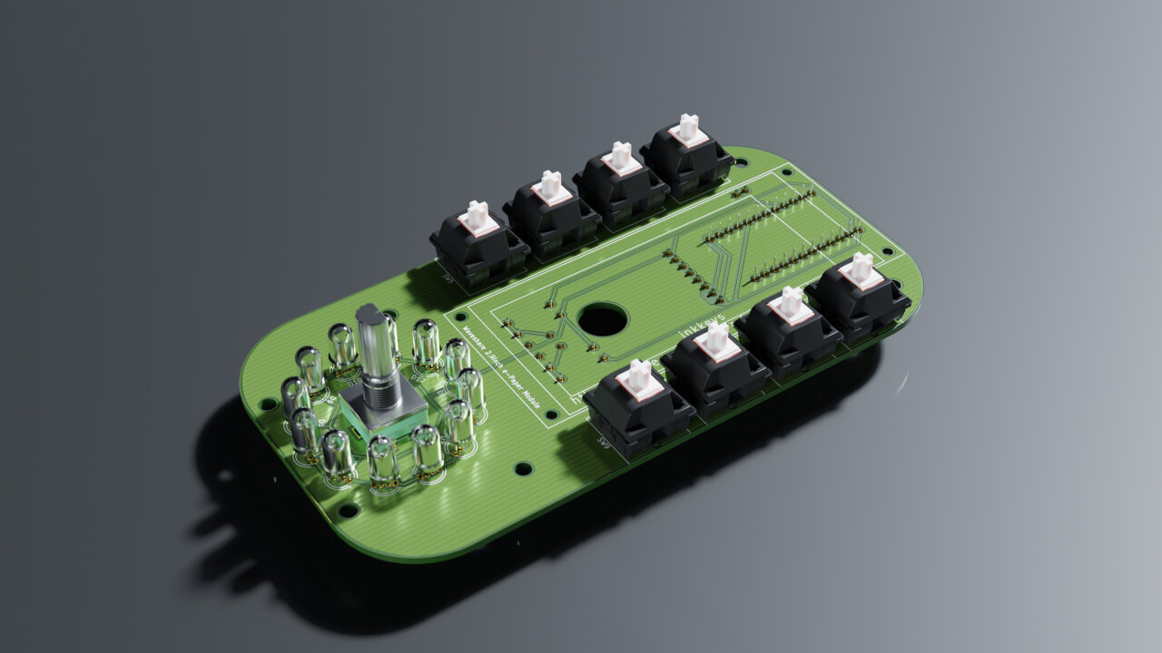 Rendered view of the top of the device with all components in place.