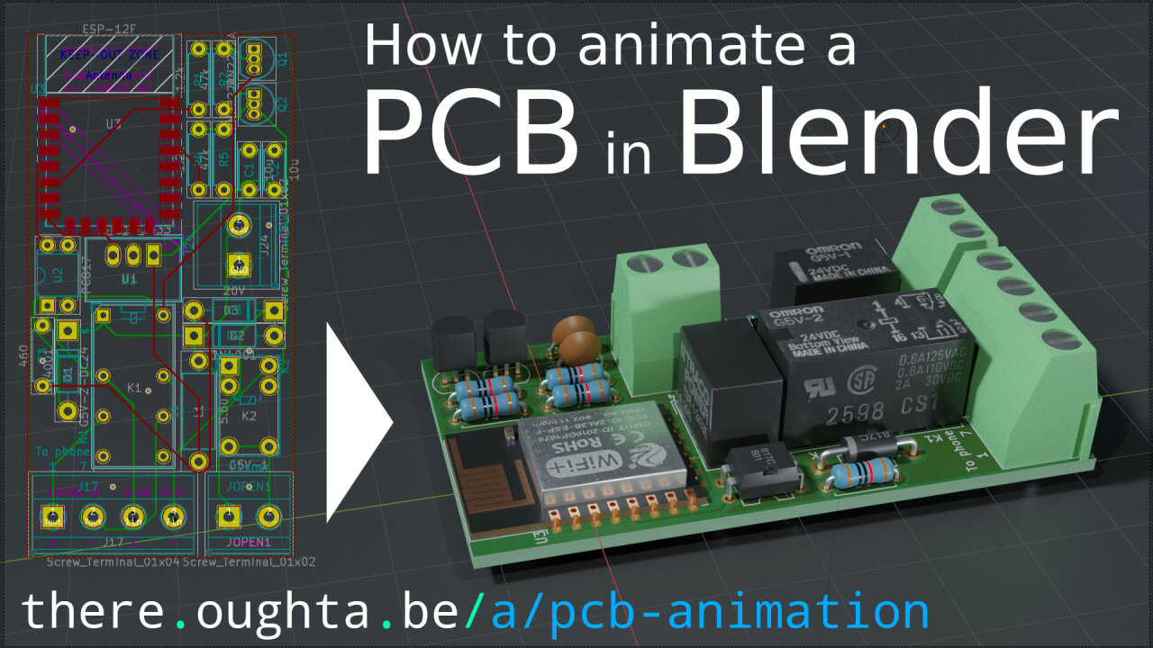 Thumbnail of the youtube video showing a schematic of the PCB on the left and the rendered result on the right.