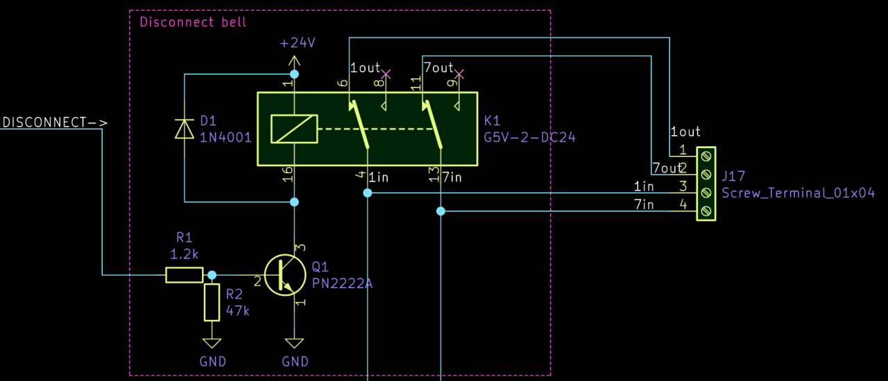 Excerpt of the circuit diagram showing only circuit to disconnect the doorbell.