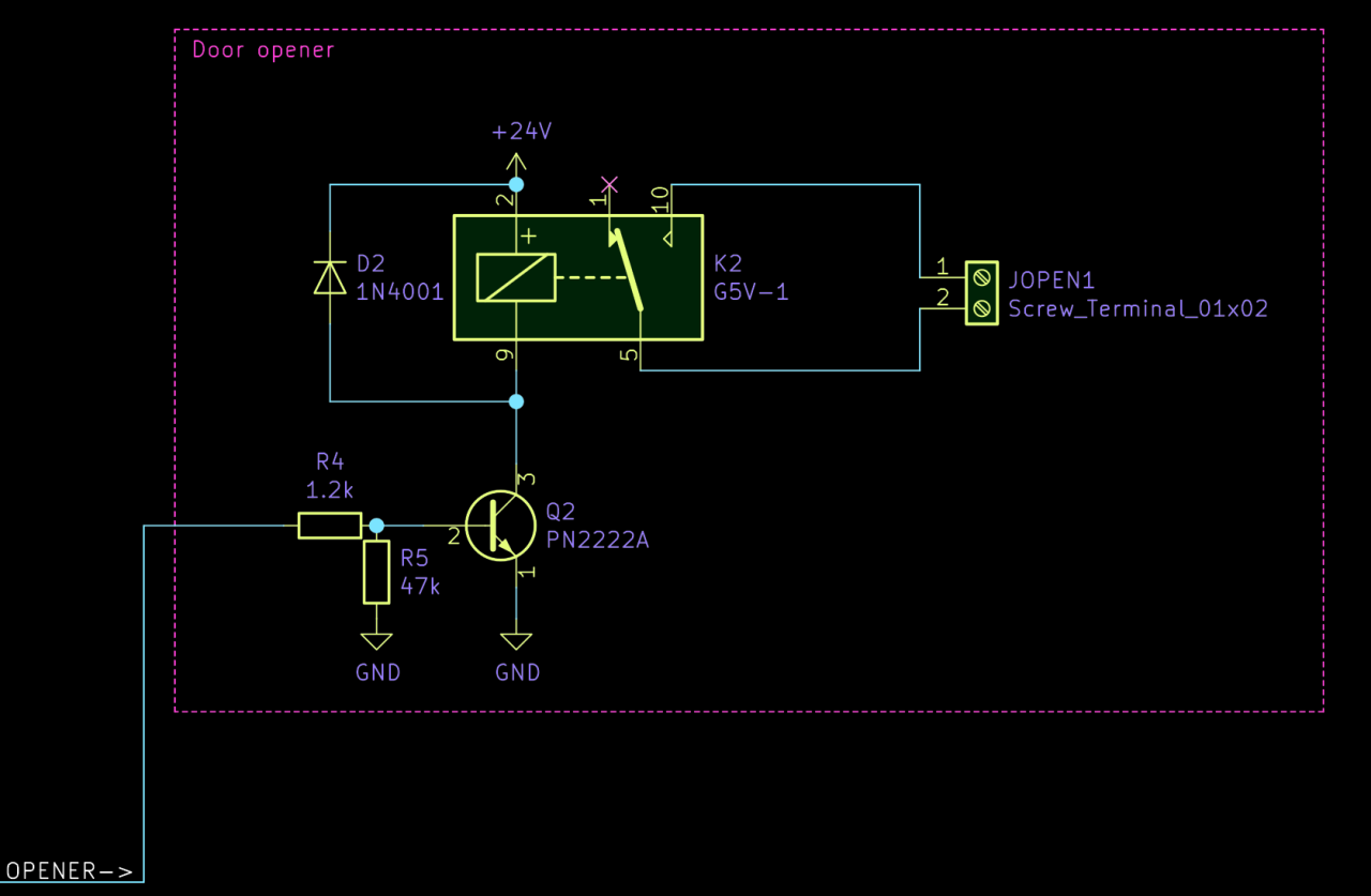 Excerpt of the circuit diagram showing only circuit to trigger the door opener.
