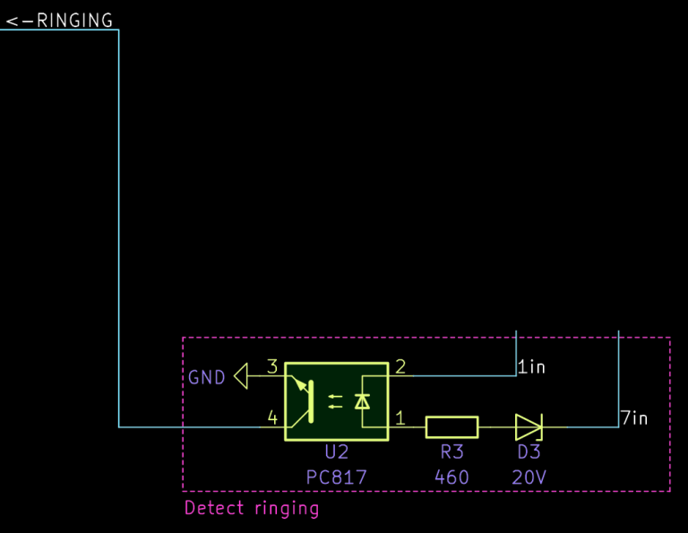 Excerpt of the circuit diagram showing only the circuit to detect the ringing state.