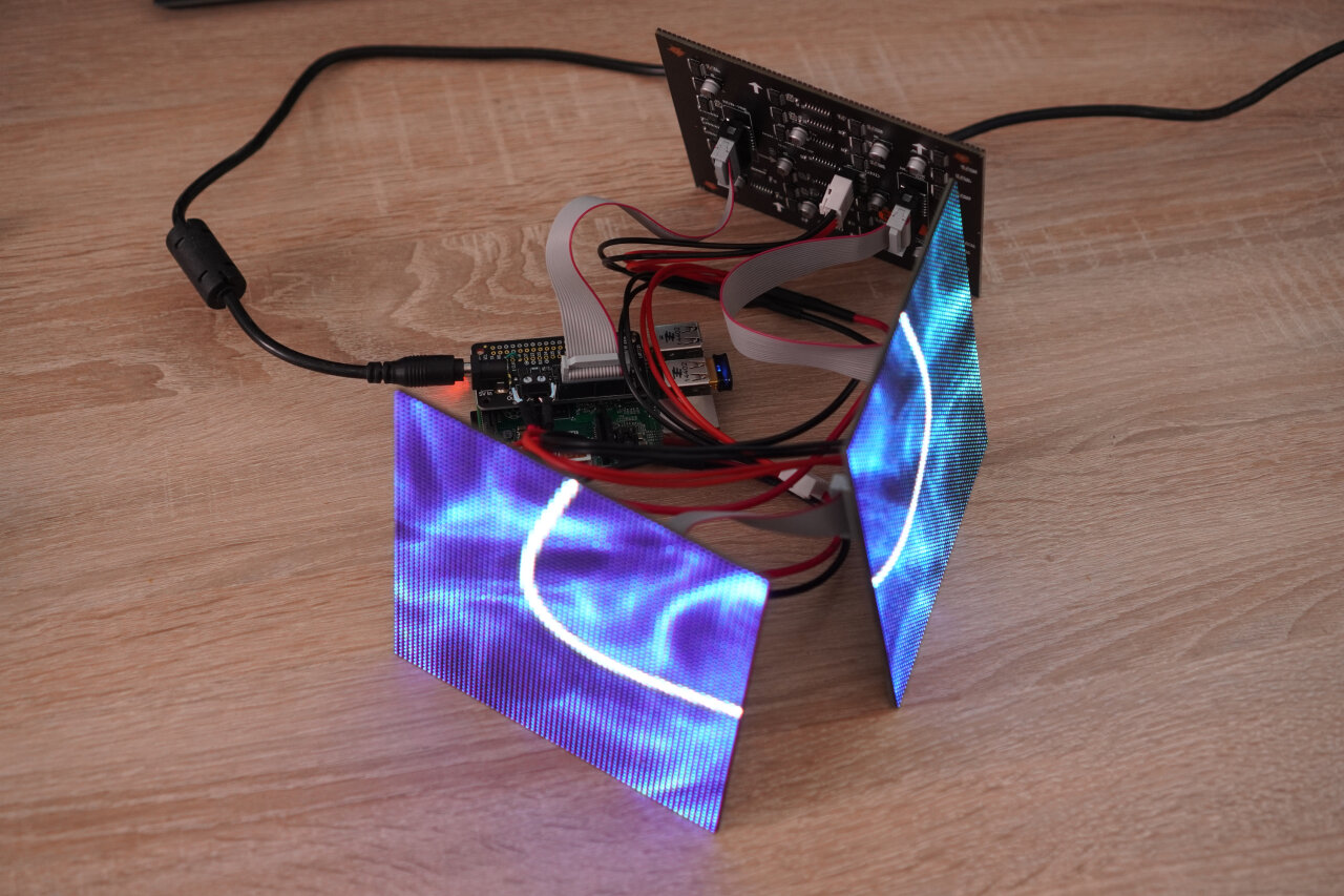 Photo of the disassembled cube with active LED panels.