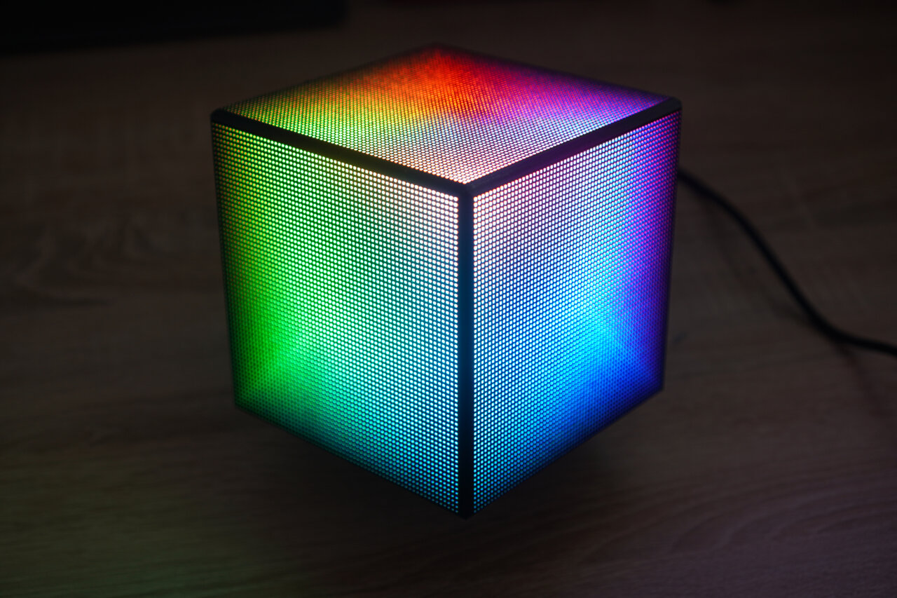 Photo of an LED cube with a color gradient across all sides.