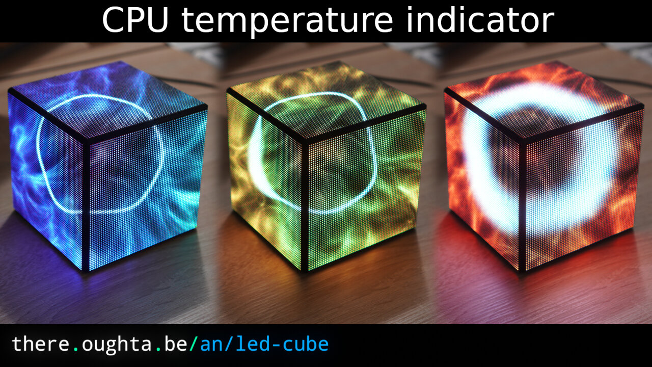 Thumbnail of a youtube video about my LED cube, showing three images of the cube with dominantly blue, then green and finally red color.