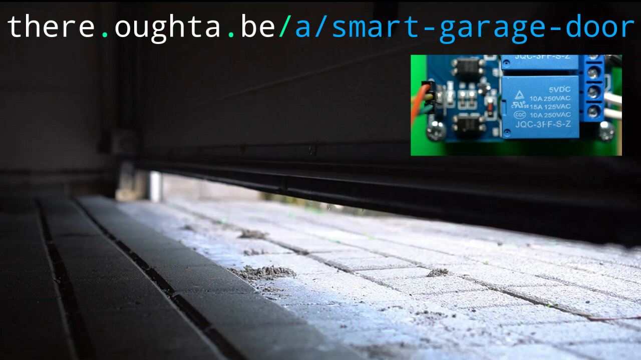 Thumbnail of a youtube video about the smart garage door opener, light shining through the opening door.