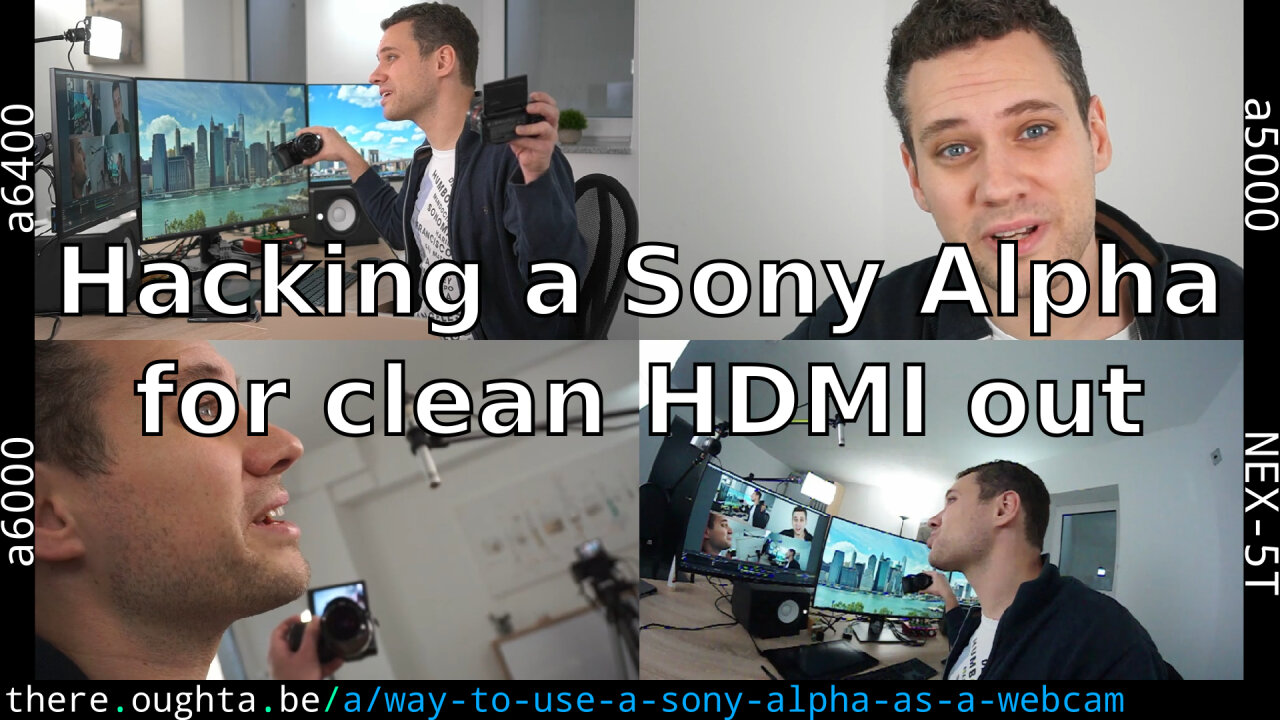 Thumbnail of a youtube video about using a Sony Alpha camera as a webcam, showing four simultaneous perspectives from four Sony Alpha cameras.